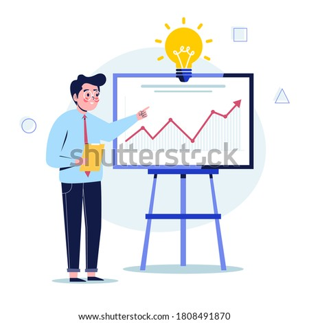 Young businessman presentation screen board explaining charts. Flat design vector illustration Foto stock ©