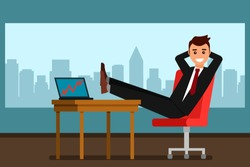 Young businessman rejoices in sales growth in his office. flat vector illustration