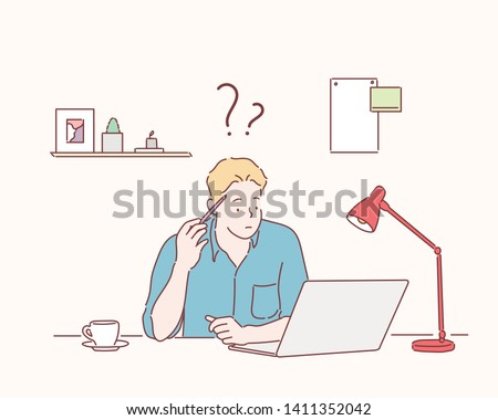 Young Businessman Using Laptop At Workplace. Hand drawn style vector design illustrations.