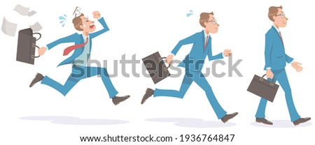 Young businessman walking and running. Walk slowly, quick run, run very fast. Vector illustration isolated on white background. Foto stock ©