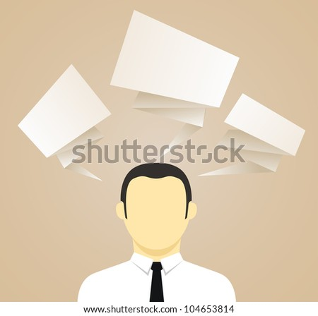 Young businessman with speech clouds