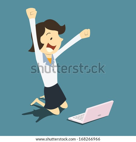 Young Businesswoman With Raising Clenched Fists, Happy In Front Of Laptop, Representing To Getting A Job, Winning Or Getting Exciting Information.
