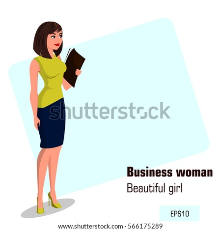 young cartoon businesswoman in