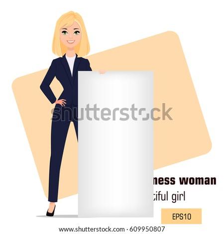 young cartoon businesswoman
