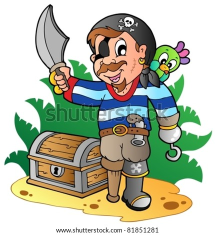 Young cartoon pirate 2 - vector illustration.