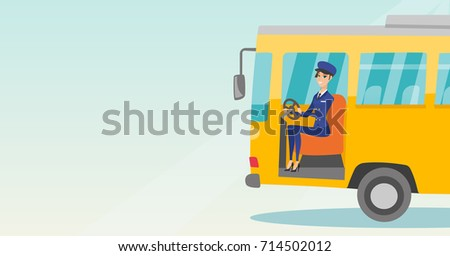 Young caucasian bus driver sitting at steering wheel. Female bus driver driving a passenger bus. Smiling bus driver sitting in the driver cab. Vector cartoon illustration. Horizontal layout.