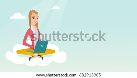Young caucasian business woman sitting on a cloud and working on a laptop. Business woman using cloud computing technologies. Concept of cloud computing. Vector cartoon illustration. Horizontal layout