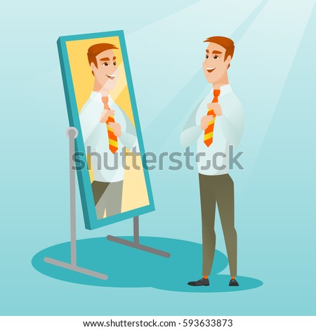 Young caucasian businessman adjusting tie in front of the mirror. Business man looking himself in the mirror. Man checking his appearance in the mirror. Vector flat design illustration. Square layout.