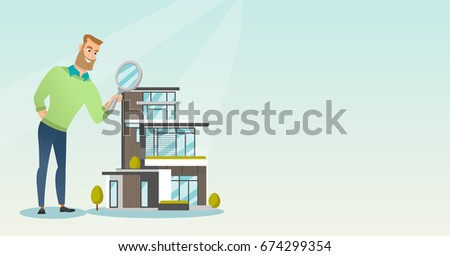 Young caucasian businessman using a magnifying glass for looking for a new house. Man using a magnifying glass to look closer at a house model. Vector flat design illustration. Horizontal layout.