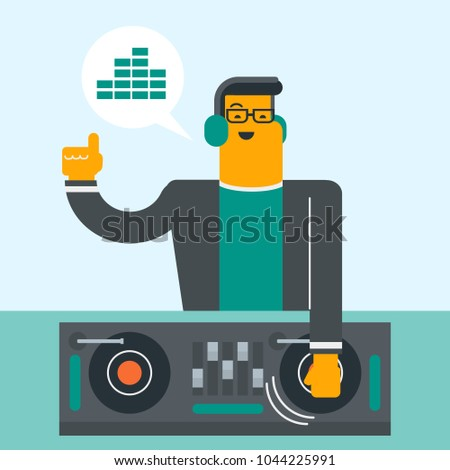 Young caucasian DJ mixing music on vinyl turntables. DJ playing the track and mixing music on deck. DJ in headphones at nightclub during party. Vector cartoon illustration. Square layout.
