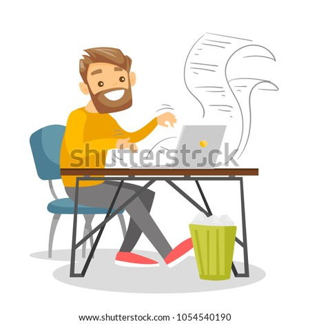 Young caucasian female journalist writing an article on a vintage typewriter. Concentrated female journalist working on retro typewriter. Vector  design illustration.Square layout. Foto d'archivio ©