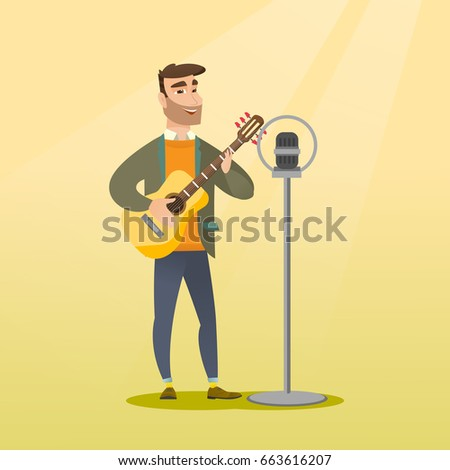 Young caucasian guitar player singing a song and playing the acoustic guitar. Hipster singer singing into a microphone and playing the acoustic guitar. Vector flat design illustration. Square layout.