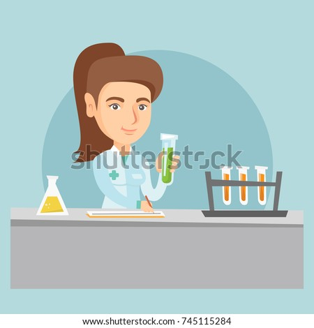 Young caucasian laboratory assistant working with a test tube and taking some notes. Female laboratory assistant analyzing liquid in a test tube. Vector cartoon illustration. Square layout.