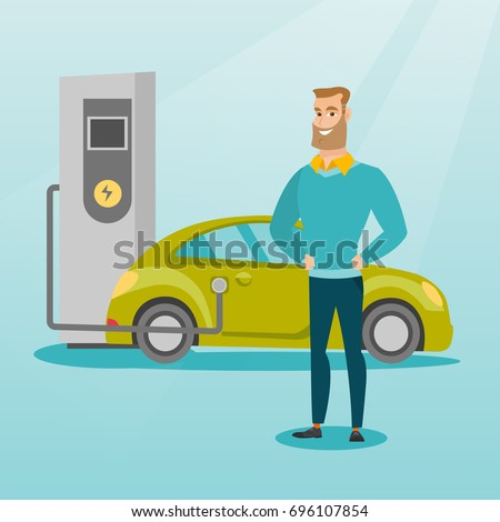 Young caucasian man charging electric car at charging station. Man standing near power supply for electric car. Charging of electric car. Vector flat design illustration. Square layout.