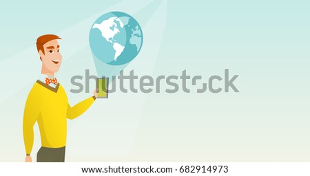 young caucasian man holding a...
