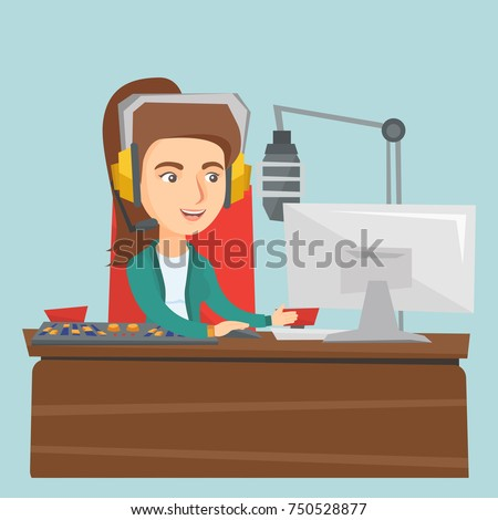 Young caucasian radio host working in front of microphone, computer and mixing console at radio studio. Radio host in headset working at radio studio. Vector cartoon illustration. Square layout.