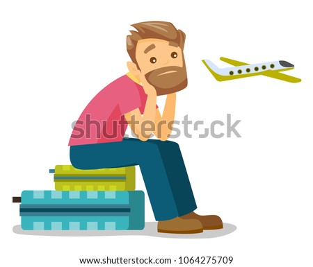 Young caucasian white airplane passenger frightened by future flight. Man suffering from fear of flying. Terrified man waiting for a flight. Vector cartoon illustration isolated on white background.