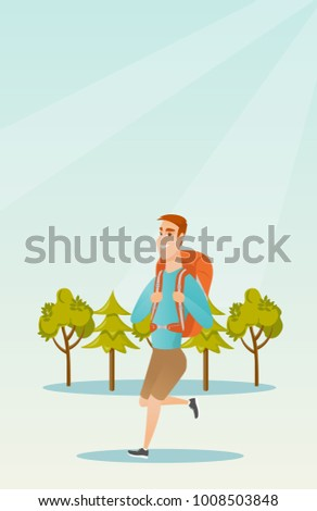 Young caucasian white backpacker with a backpack walking outdoor. Cheerful backpacker hiking in the forest during summer trip. Vector cartoon illustration. Vertical layout.
