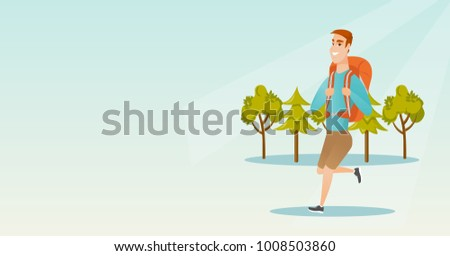 Young caucasian white backpacker with a backpack walking outdoor. Cheerful backpacker hiking in the forest during summer trip. Vector cartoon illustration. Horizontal layout.