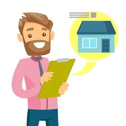Young caucasian white businessman reading real estate advertising. Cheerful hipster man searching house in real estate market. Vector cartoon illustration isolated on white background. Square layout.