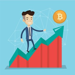 Young caucasian white businessman standing on growth bitcoin graph. Rise of bitcoin price, blockchain network technology, initial coin offering and cryptocurrency concept. Vector cartoon illustraton.