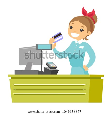 Young caucasian white cashier holding credit card at the checkout in supermarket. Female cashier working at the cash register. Vector cartoon illustration isolated on white background. Square layout.