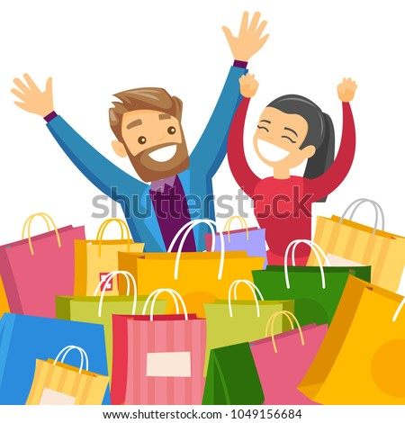 Young caucasian white couple sitting among colorful shopping bags. Woman and man having fun while doing shopping together. Vector cartoon illustration isolated on white background. Square layout.