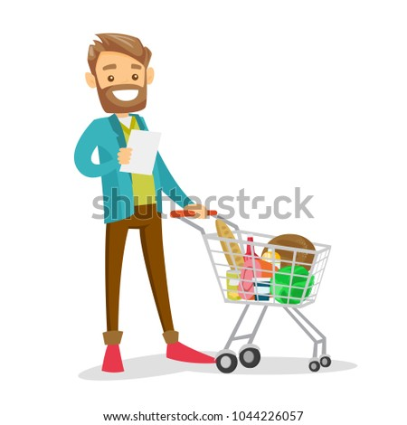 Young caucasian white man standing next to the shopping carrt with products and checking a shopping list in the grocery shop. Vector cartoon illustration isolated on white background. Square layout.