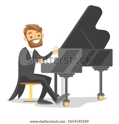 Young caucasian white musician playing piano. Pianist playing upright piano. Smiling male pianist performing on synthesizer. Vector cartoon illustration. Horizontal layout.