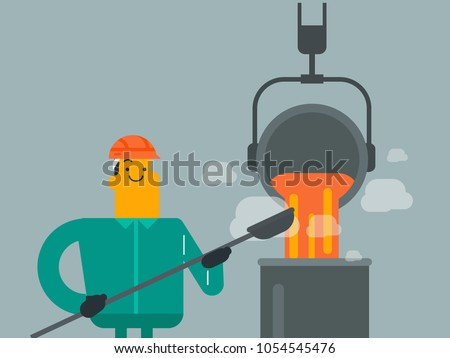 Young caucasian white white steelworker in hard hat at work near the furnace. Steelworker controlling iron smelting in the foundry in steel making plant. Vector cartoon illustration.