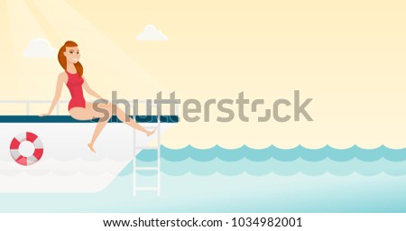 Young caucasian white woman tanning on the front of the yacht. Happy woman travelling by yacht. Woman resting during summer trip on the yacht. Vector cartoon illustration. Horizontal layout.