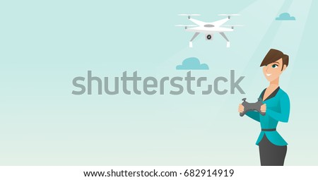 Young caucasian woman flying drone with a remote control. Woman operating a drone with a remote control. Woman controling a drone. Vector cartoon illustration. Horizontal layout.
