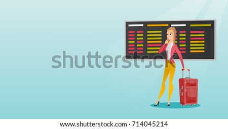Young caucasian woman looking at departure board at the airport. Passenger with suitcase standing on the background of departure board at the airport. Vector cartoon illustration. Horizontal layout.