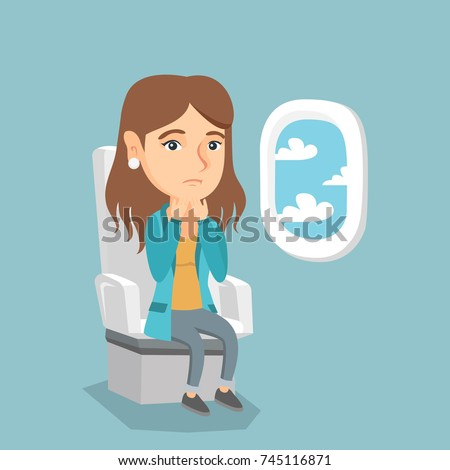 Young caucasian woman shocked by plane flight in the turbulent area. Frightened airplane passenger sitting in airplane seat and suffering from aerophobia. Vector cartoon illustration. Square layout.