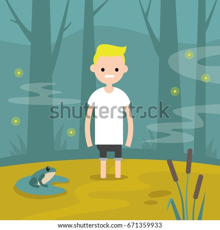 Young character stuck in the swamp / flat editable vector illustration, clip art