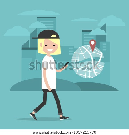 Young character using a navigational app. Map and geo tag on city background.Flat cartoon design.Clip art