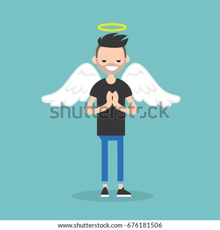 young character wearing angel