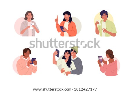 Young characters are using smartphones. Different boys and girls chatting, making selfie and spending time in mobile apps. Diversity people set. Flat cartoon vector illustration.
