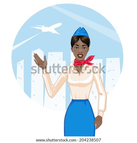 Young cheerful african american stewardess, eps10