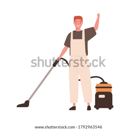 Young cheerful man in office cleaning service, janitor uniform vacuuming. Guy hoover up floor with vacuum cleaner. Housekeeping staff. Flat vector cartoon illustration isolated on white background