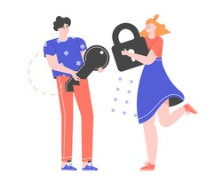 Young couple. A man holds a key, a woman a closed lock. Vector flat illustration.