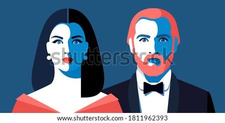 young couple beautiful woman