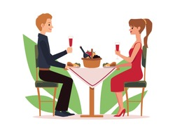 Young couple bonding relationship on romantic date or family holiday in cafe or restaurant. Flat cartoon vector illustration isolated on a white background.