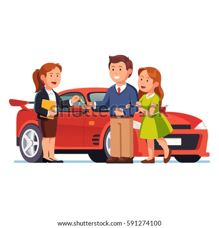 Young couple buying or renting yellow sports car. Salesman selling auto and giving keys to happy family. Man & woman standing next to new auto. New purchase concept. Flat style vector illustration.