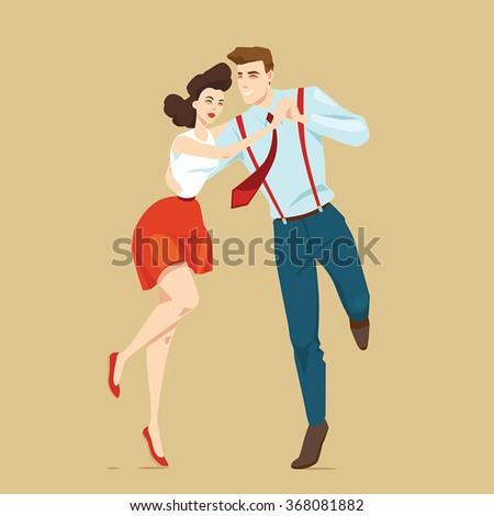 young couple dancing lindy hop