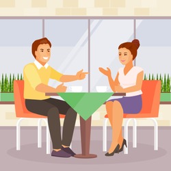 Young couple drinking coffee in a cafe. Date and communication. Vector illustration