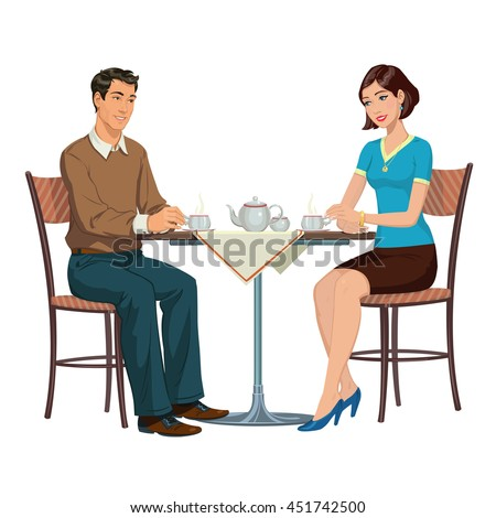 young couple drinking tea at