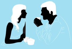 Young couple enjoys a hot tea in the cafe, silhouettes