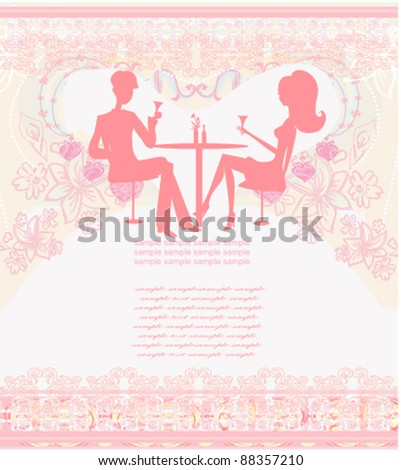 Young couple flirt and drink champagne - invitation card - stock vector