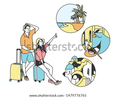 Young couple going on a trip. Pointing at destination with finger. List of destinations. hand drawn style vector design illustrations.